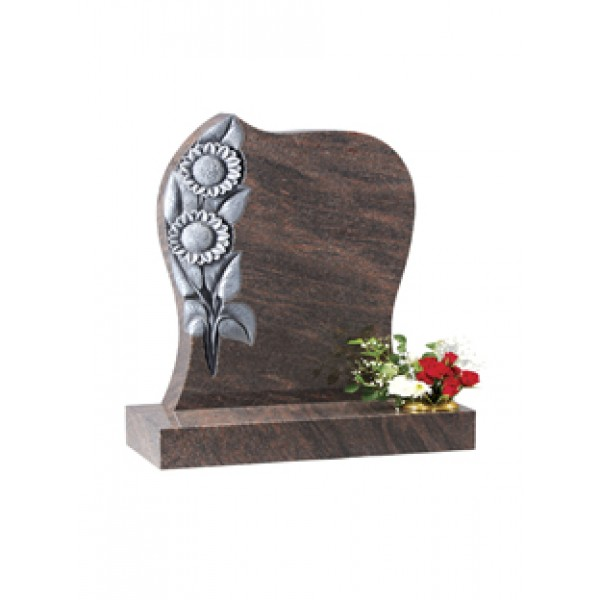 Ec76 Brown Granite Headstone With Hand Carved Sunflower